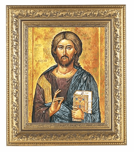 Hirten Christ the Teacher Detailed Ornate Gold Leaf Antique Framed Picture