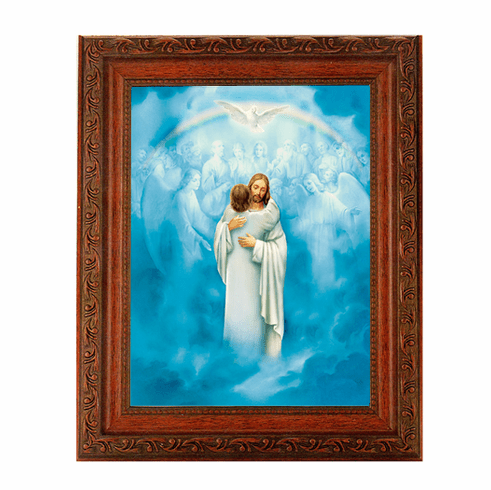 Hirten Christ Welcoming Home Detailed Ornate Antique Mahogany Framed Picture