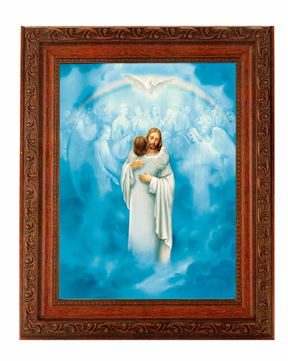 Hirten Christ Welcoming Home Detailed Ornate Antique Mahogany Finished Framed Picture