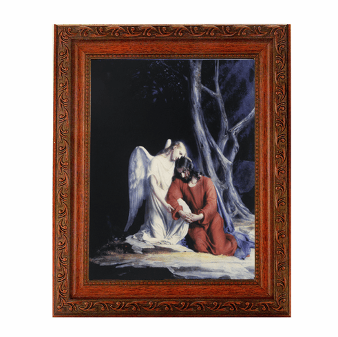 Hirten Christ With an Angel Ornate Mahogany Framed Picture