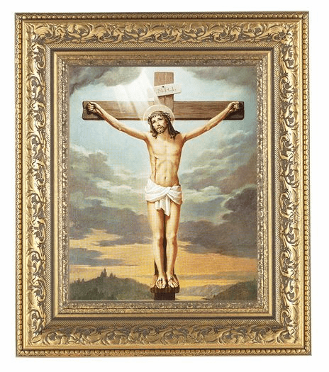 Hirten Crucifixion Detailed Ornate Gold Leaf Antique Framed Picture