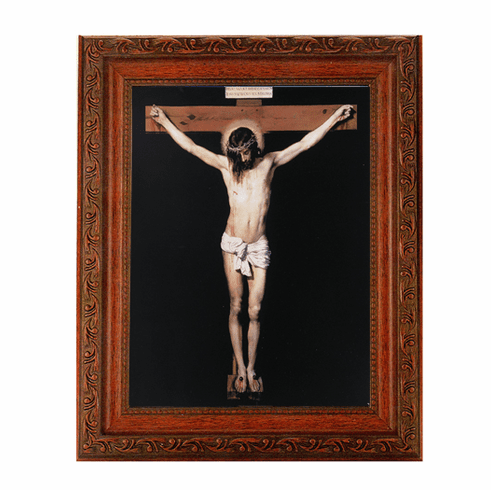 Hirten Crucifixion on Black Ornate Mahogany Framed Picture