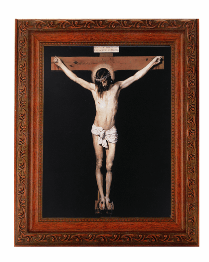 Hirten Crucifixion on Black Detailed Ornate Antique Mahogany Finished Framed Picture