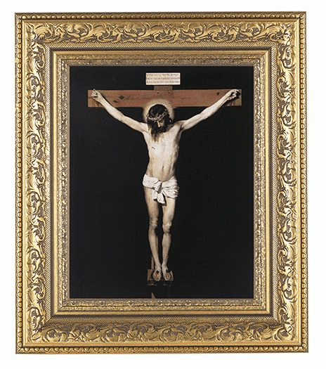 Hirten Crucifixion on Black Detailed Ornate Gold Leaf Antique Framed Picture