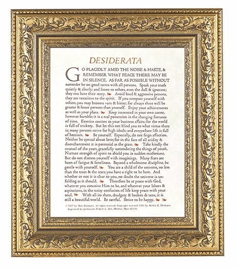 Hirten Desiderata Detailed Ornate Gold Leaf Antique Framed Picture