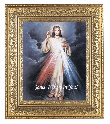 Hirten Divine Mercy Detailed Ornate Gold Leaf Antique Framed Picture