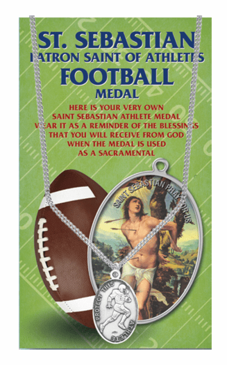 Hirten Football Male St Sebastian Athlete Sports Necklace with Prayer Card