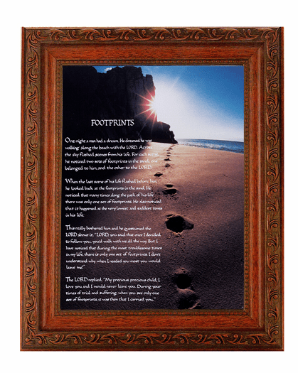 Hirten Footprints in the Sand Detailed Ornate Antique Mahogany Finished Framed Picture