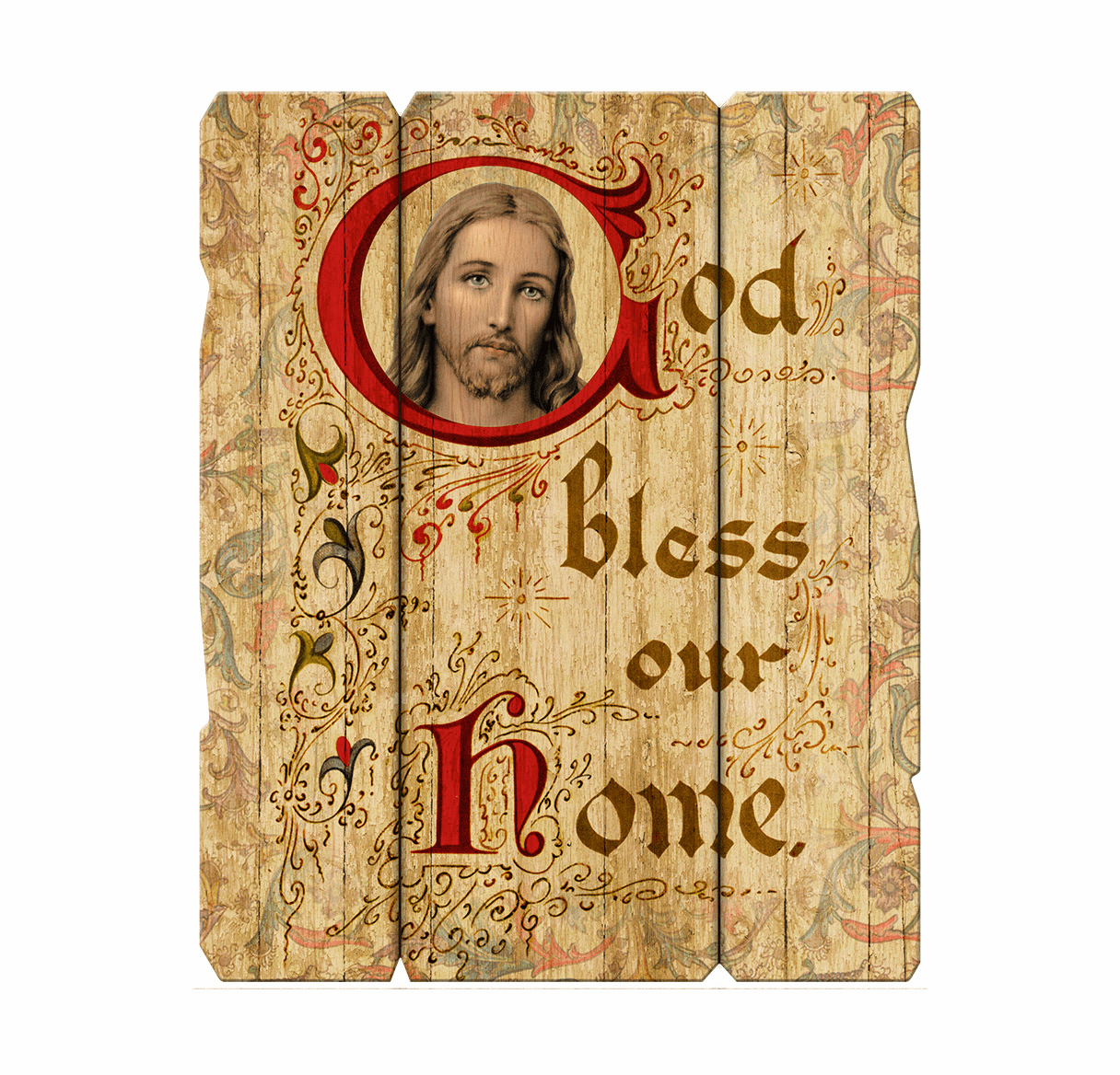 Hirten God Bless Our Home Vintage Wall Plaque