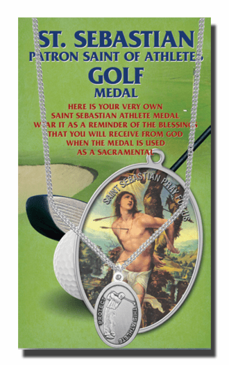 Hirten Golf Male St Sebastian Athlete Sports Necklace with Prayer Card