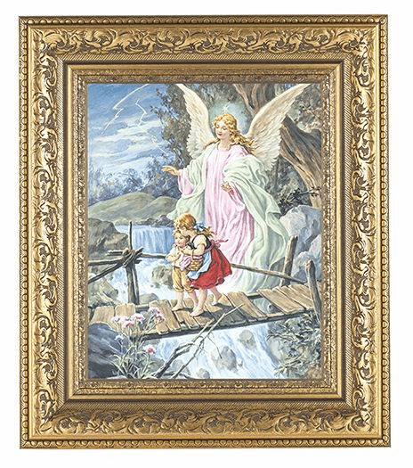 Hirten Guardian Angel on Bridge Detailed Ornate Gold Leaf Antique Framed Picture