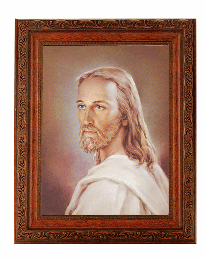 Hirten Head of Christ Jesus Detailed Ornate Antique Mahogany Finished Framed Picture