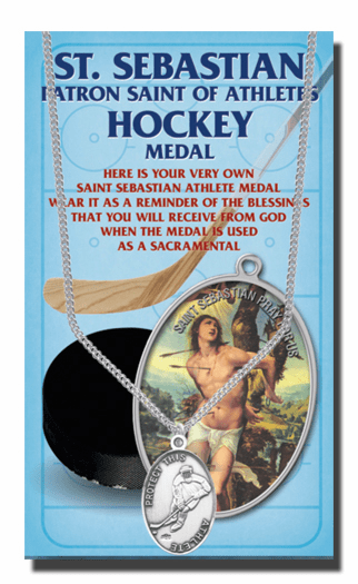 Hirten Hockey Male St Sebastian Athlete Sports Necklace with Prayer Card