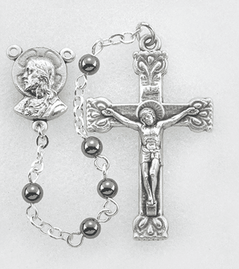 Hirten Holy Communion 4mm Hematite Round Stone Bead Rosary