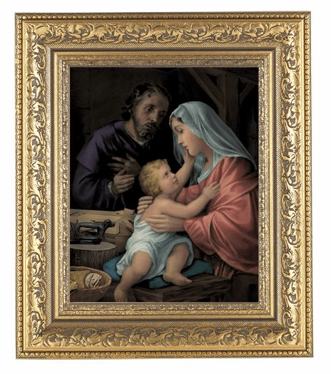 Hirten Holy Family Detailed Ornate Gold Leaf Antique Framed Picture