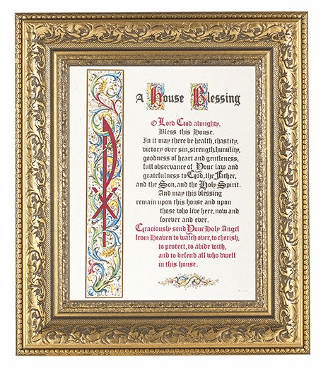 Hirten House Blessing Detailed Ornate Gold Leaf Antique Framed Picture
