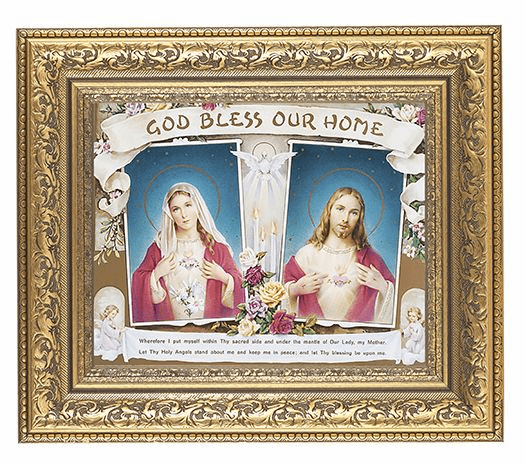 Hirten House Immaculate Hear and Sacred Heart Gold Leaf Antique Framed Picture