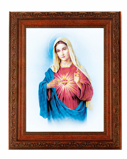Hirten Immaculate Heart Of Mary Detailed Ornate Antique Mahogany Finished Framed Picture