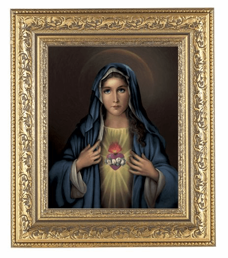 Hirten Immaculate Heart Of Mary Detailed Ornate Gold Leaf Antique Framed Picture
