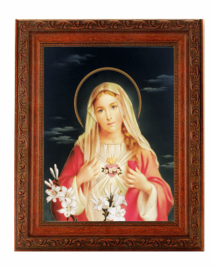 Hirten Immaculate Heart Of Mary in Red Detailed Ornate Antique Mahogany Finished Framed Picture