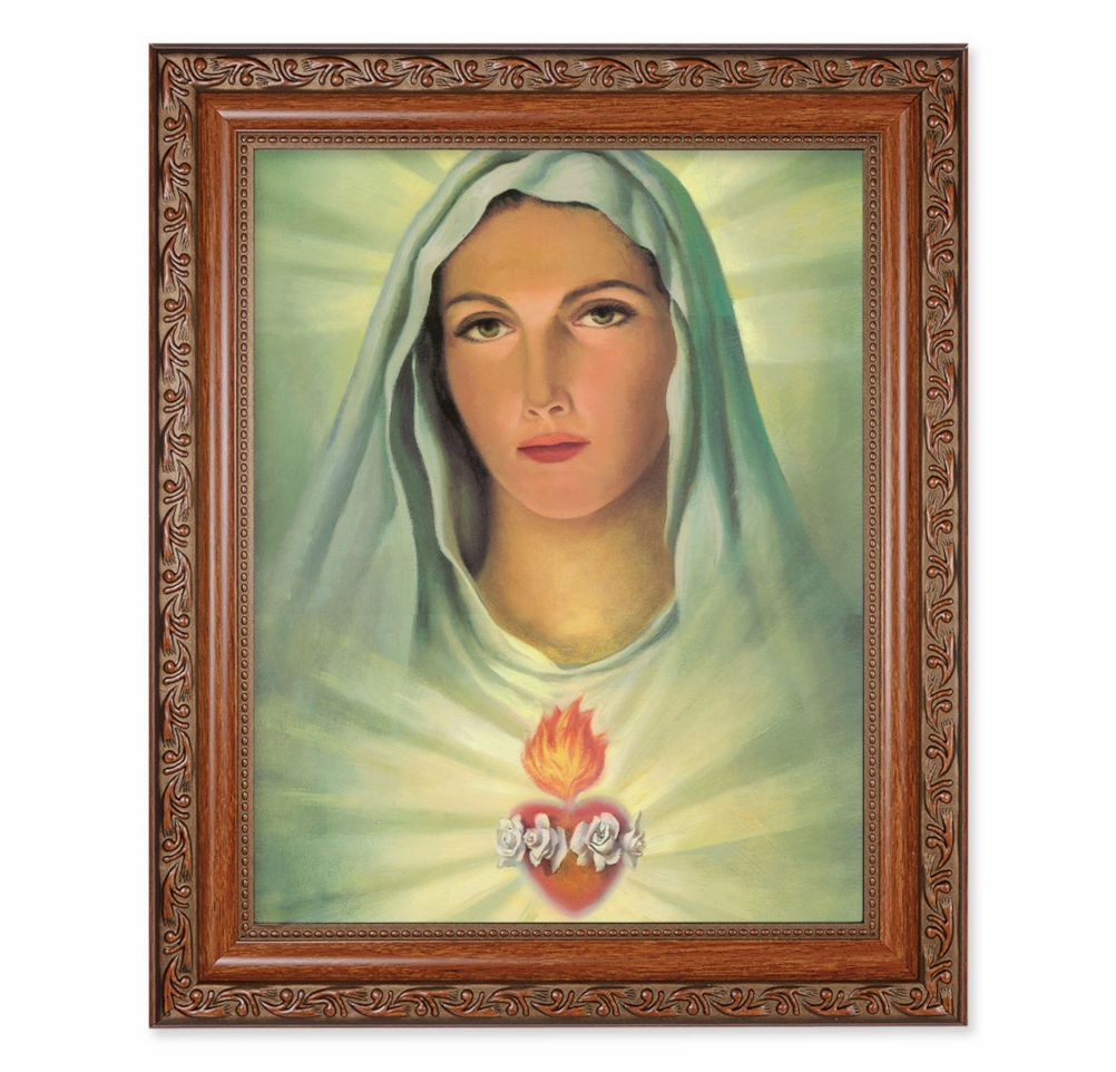 Hirten Immaculate Heart of Mary Ornate Mahogany Framed Picture
