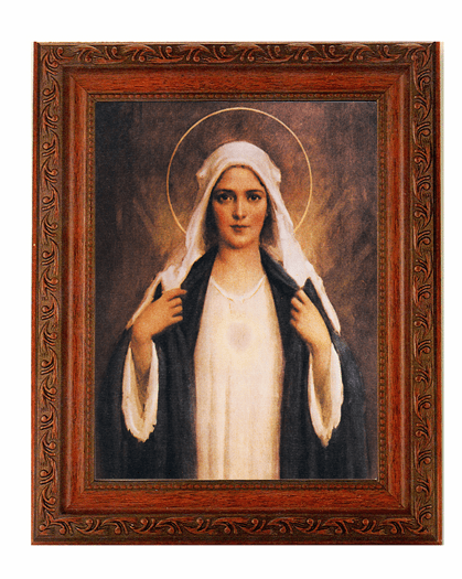 Hirten Immaculate Heart Of Mary w/Dark Back Ground Detailed Ornate Antique Mahogany Finished Framed Picture