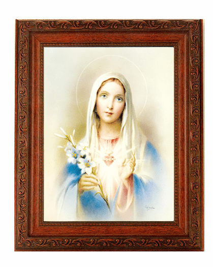 Hirten Immaculate Heart Of Mary w/Flowers Detailed Ornate Antique Mahogany Finished Framed Picture