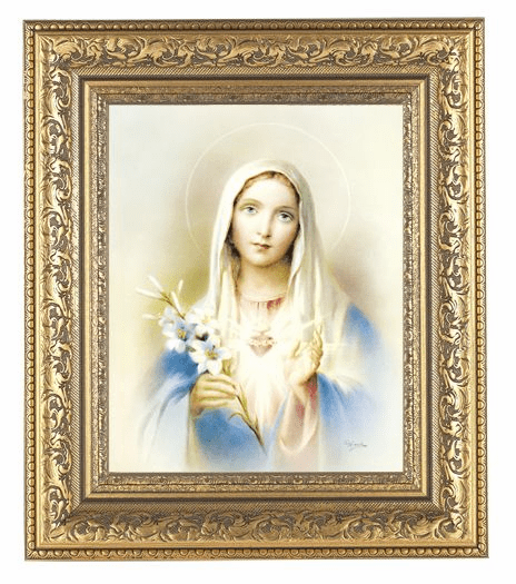 Hirten Immaculate Heart Of Mary w/Flowers Detailed Ornate Gold Leaf Antique Framed Picture