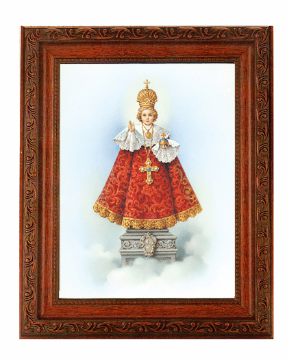 Hirten Infant of Praque Detailed Ornate Antique Mahogany Finished Framed Picture