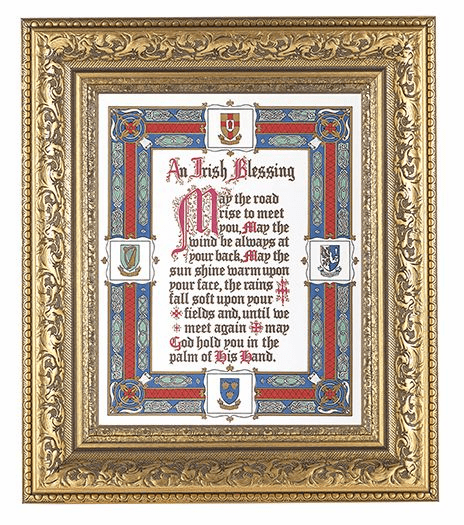Hirten Irish Blessing Detailed Ornate Gold Leaf Antique Framed Picture