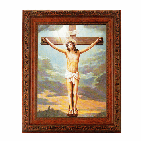 Hirten Jesus Crucifixion Ornate Mahogany Framed Picture