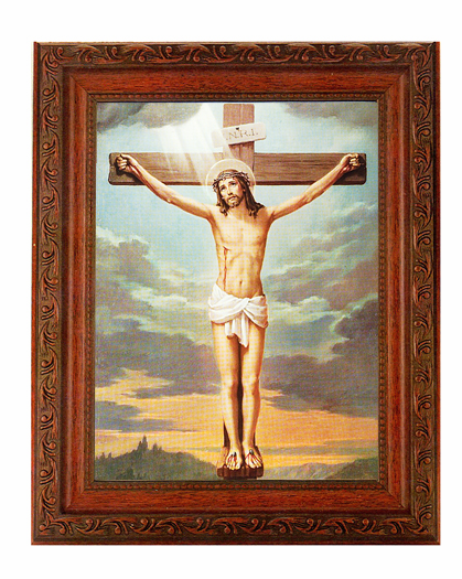 Hirten Jesus Crucifixion Detailed Ornate Antique Mahogany Finished Framed Picture