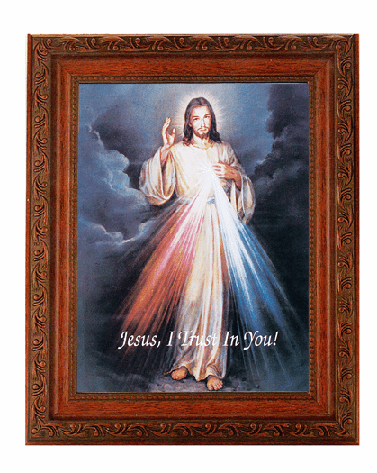 Hirten Jesus Divine Mercy Detailed Ornate Antique Mahogany Finished Framed Picture