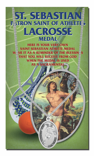 Hirten Lacrosse Male St Sebastian Athlete Sports Necklace with Prayer Card