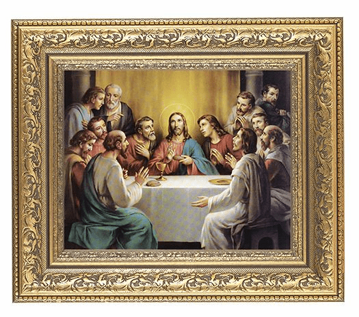 Hirten Last Supper Detailed Ornate Gold Leaf Antique Framed Picture