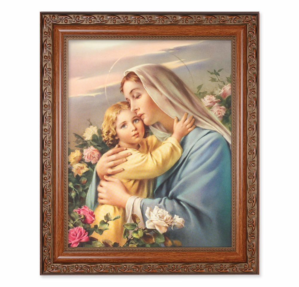 Hirten Madonna and Child Ornate Mahogany Framed Picture