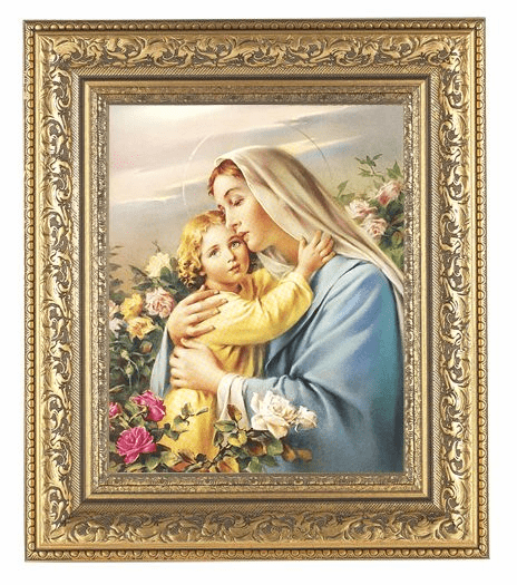 Hirten Madonna and Child with Flowers Detailed Ornate Gold Leaf Antique Framed Picture