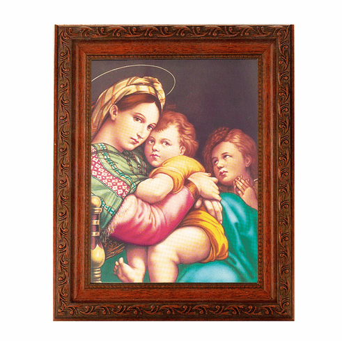 Hirten Madonna and Child with Raphael Detailed Ornate Antique Mahogany Finished Framed Picture