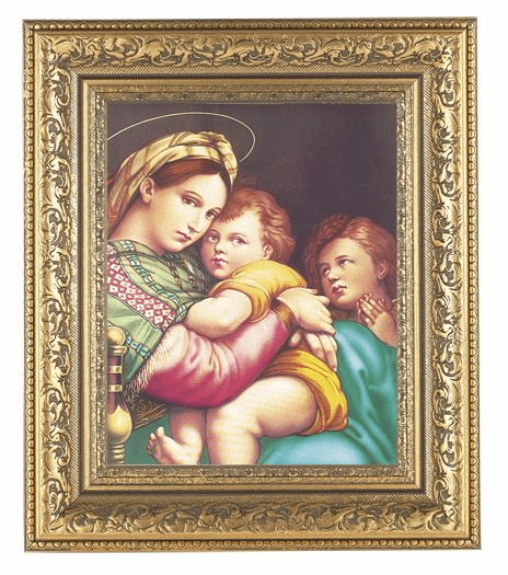 Hirten Madonna and Child with Raphael Ornate Gold Leaf Framed Picture