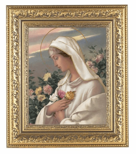 Hirten Madonna Mystical Rose Detailed Ornate Gold Leaf Antique Framed Picture
