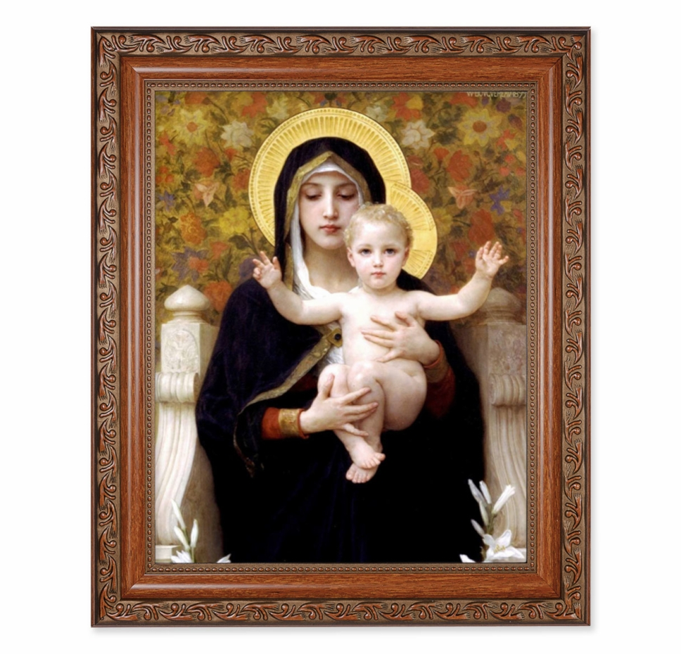 Hirten Madonna of the Roses Ornate Mahogany Framed Picture