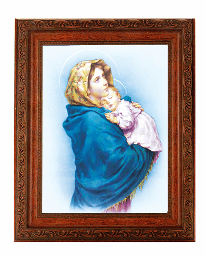 Hirten Madonna of The Street Detailed Ornate Antique Mahogany Finished Framed Picture