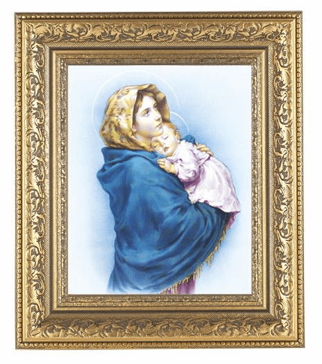 Hirten Madonna of The Street Detailed Ornate Gold Leaf Antique Framed Picture