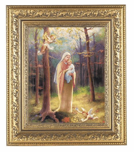 Hirten Madonna of The Woods Detailed Ornate Gold Leaf Antique Framed Picture