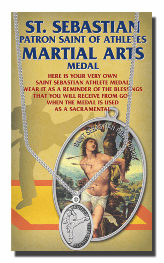 Hirten Martial Arts Male St Sebastian Athlete Sports Necklace with Prayer Card