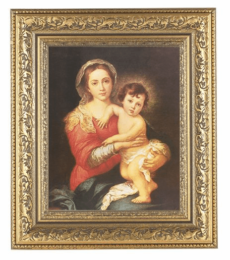 Hirten Murillo Madonna and Child Detailed Ornate Gold Leaf Antique Framed Picture