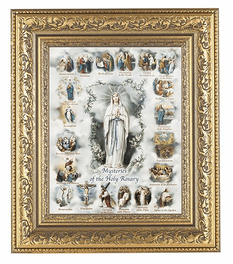 Hirten Mysteries of The Rosary Detailed Ornate Gold Leaf Antique Framed Picture