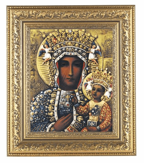 Hirten Our Lady of Czestochowa Detailed Ornate Gold Leaf Antique Framed Picture