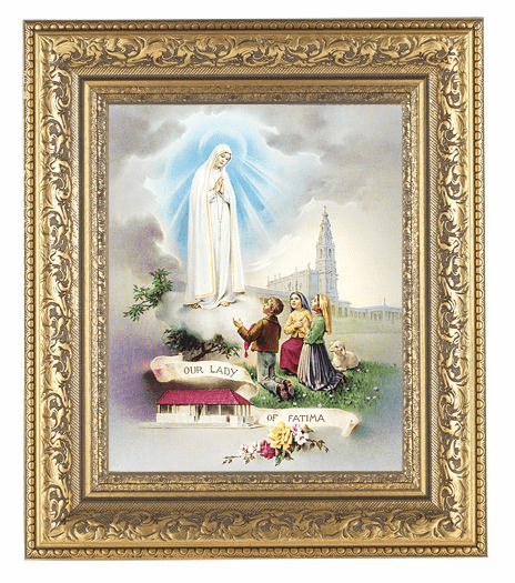 Hirten Our Lady of Fatima Detailed Ornate Gold Leaf Antique Framed Picture