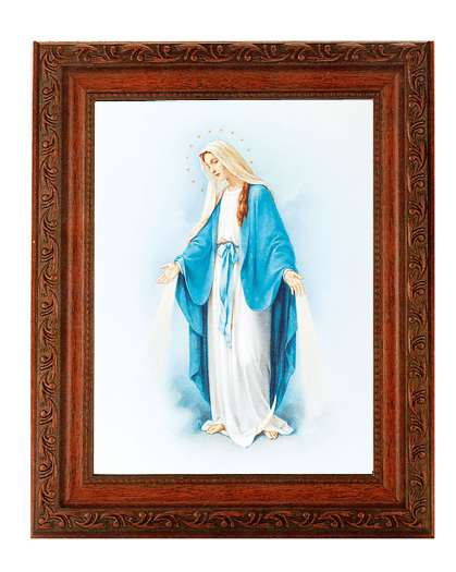 Hirten Our Lady of Grace Detailed Ornate Antique Mahogany Finished Framed Picture